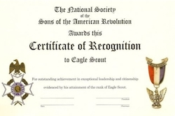 Eagle Certificate of Recognition